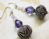 Purple and pink crystal earrings,  rosewater opal and violet crystals, Bali silver