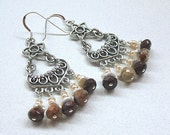 Poppy jasper chandelier earrings with white keshi pearls and pale peach pearls