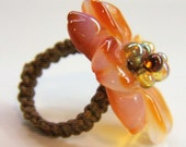 Red agate ring - Flower ring, size 5.5