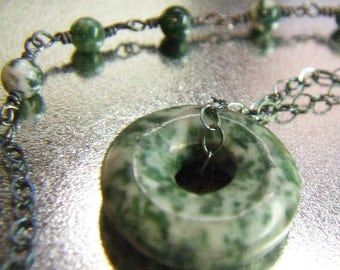 Sterling silver chain necklace, spotted dark green tree agate beads