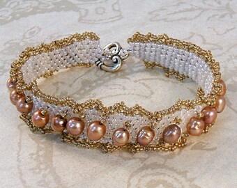 Bronze pearl bracelet, peyote weave with ivory pearl seeds