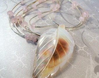 Rose quartz necklace with liquid silver and mother-of-pearl leaf pendant