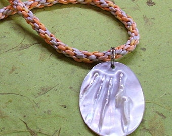 Handwoven necklace, peach and gray silk with blister pearl pendant
