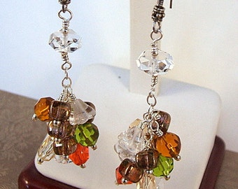 Multicolor crystal cluster earrings, green, orange, gold, and brown