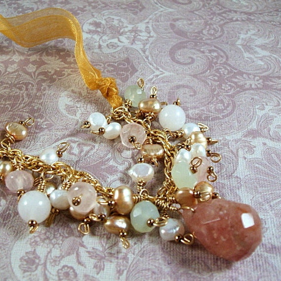 Gemstone ribbon necklace with rose quartz, white jasper, green serpentine and pearls