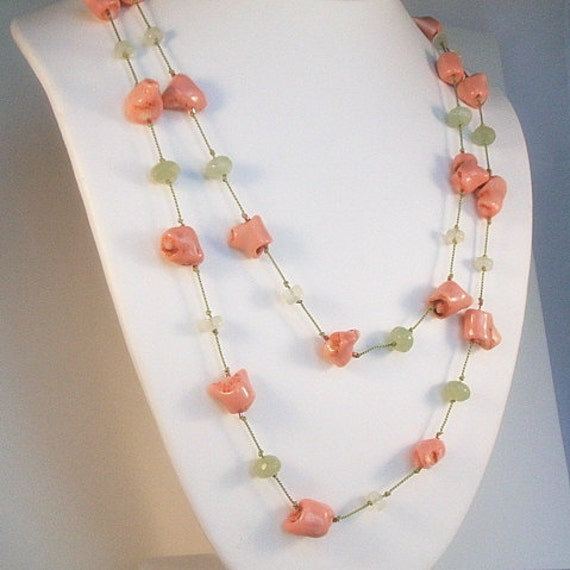 Coral branch necklace with green serpentine, 48 inch opera length