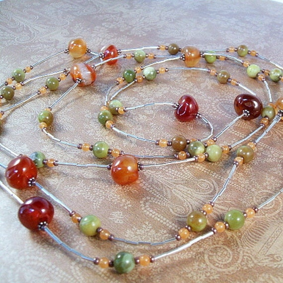 Held for Coco - Long necklace with orange carnelian, butterscotch agate and olive jade, opera length
