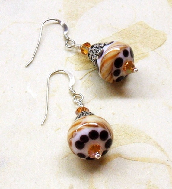 Lampwork earrings in brown, cream and rust with fire opal crystals