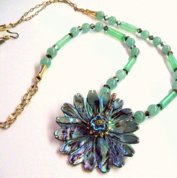 Green aventurine necklace - Paua abalone sunflower pendant