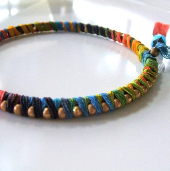 Rainbow bangle bracelet - Woven ribbon bangle