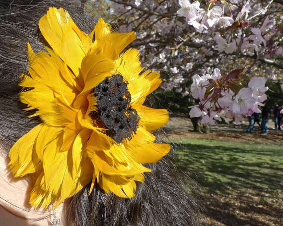 Yellow Feather Sunflower hair fascinator clip with lace