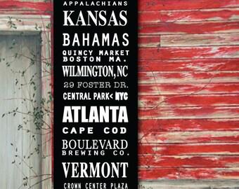 12 x 36 Vintage Subway Scroll,  Travel Canvas, Transit Sign