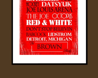 Detroit RedWings Print or Canvas housewarming gift for couple