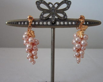 Vintage Pearl Grape Shape Clip Earrings
