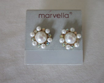Vintage Marvella Pearl and Rhinestone Pierced Earrings
