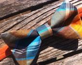 "Bow Tie - ""Orange Plaid"" - Adjustable Strap"