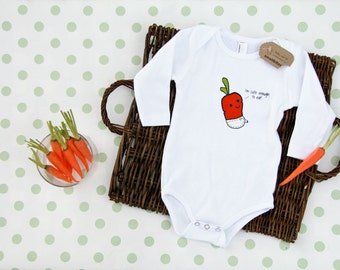 Small Bites Baby - Long Sleeve Baby Carrot Onesie, Screen Printed On American Apparel, Made For Foodies