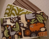 SALE: Jungle Burp Cloth Set of 3 in brown, green, orange and blue.