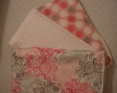 Handmade Baby Burp Cloth Set of 3 in vintage print in shades of pinks and greys