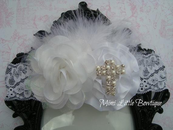Vintage Christening Headband- Baby Baptism Headband Shabby Chic Vintage  -Baby headband- Newborn headband- Infant headband