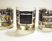 COLORADO ROCKS TUMBLER vintage bar glasses x3 (c. 1950's-60's)