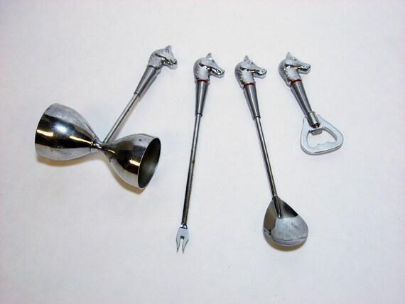 VINTAGE BAR SET - chrome horse head shot, opener, skewer, stirrer (c. 1950s-60s)