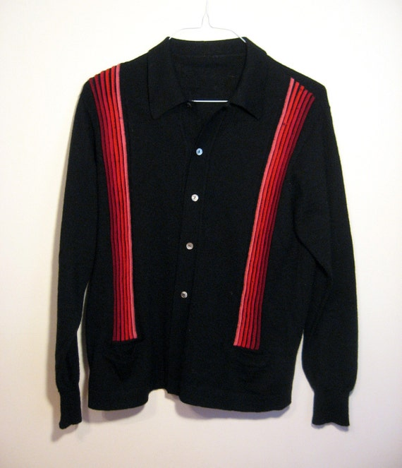 VINTAGE MENS CARDIGAN - Black sweater with red stripes, Medium/Large, tagless (c. 1960s)