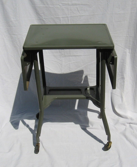 VINTAGE TYPEWRITER CART - small metal computer desk with adjustable counter and wheels (c. 1950s-60s)