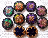 Czech  Glass Buttons  10 pcs GORGEOUS gold PAIRS   31mm   IVA 027