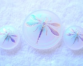 Czech  Glass  Buttons one 30mm  and two 18mm   DRAGONFLY   IVA 143