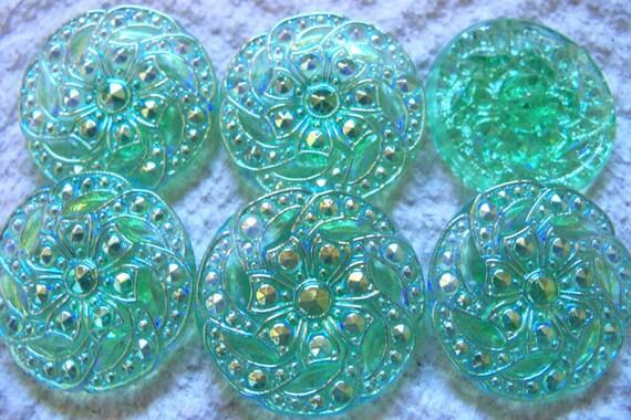 Czech  Glass Buttons  6 pcs GORGEOUS    27mm    IVA 185