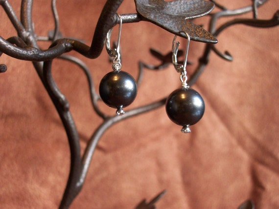 Tahitian look Black Pearl Earrings