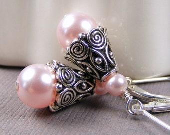 Light Pink Swarovski Pearl Teardrop Earrings on Sterling Silver Leverbacks. Classic. Spiral. Wedding. Bridal. Cone. Rosaline. Bridesmaid.