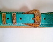 western belt turquoise leather small
