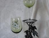 Green Handpainted Wine Glass Sets
