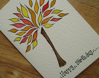 Fall tree Birthday card
