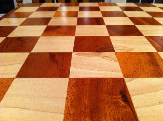 Handcrafted, custom, solid wood chess board