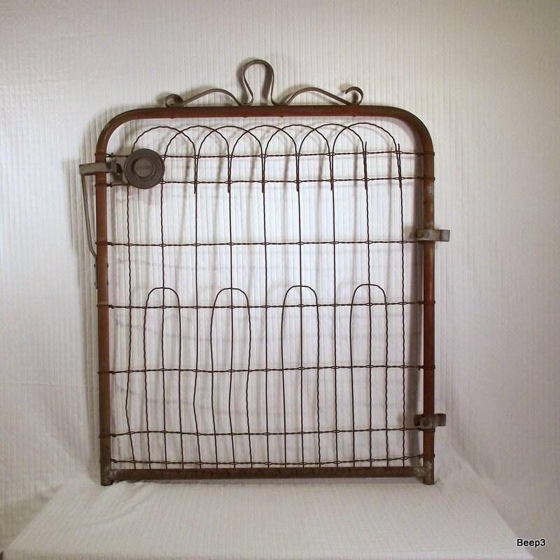 Antique iron wire garden gate