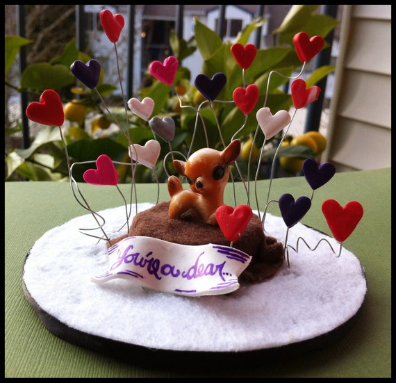 You're A Dear..... Miniature Valentines Deer Diorama, Vintage German Deer with Multicolored Hearts.