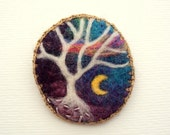 Felt brooch, white tree, blue crescent moon sky, tree pin - The Mystery tree