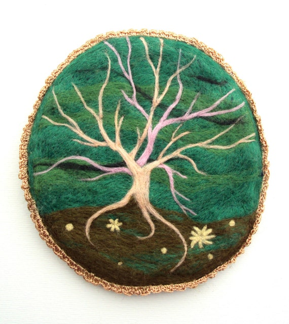 Felted artwork, one of a kind tree wall hanging, woolen green forest