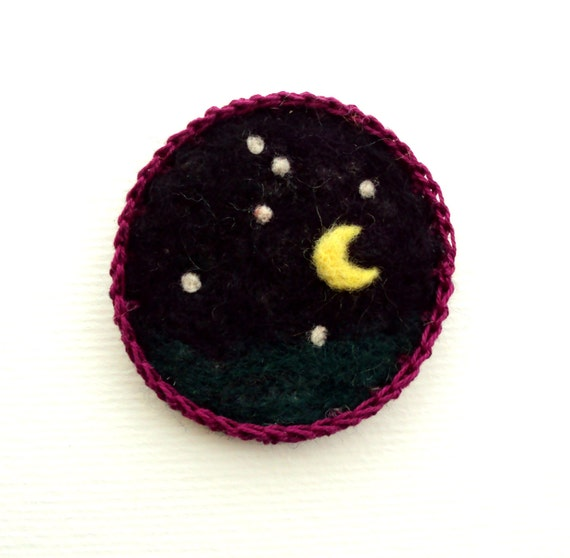 Felt brooch, Starry moonlit night, black felted pin, merino wool badge