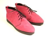 Fuchsia 1970s SUEDE Wedge Ankle Boots Outdorables Sz 5