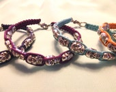 Silver Brass Skull Wrap Bracelets - Multi-Colored