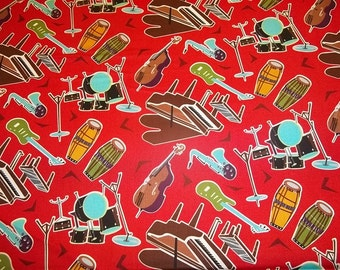 ALL THAT JAZZ   pattern  1 Yard - 100% Cotton Timeless Treasures Very Cute Fabric Available in  Red