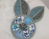 Appliqued Felt Brooch - Blue Flower