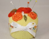 Embroidered Pin Cushion - Russet Roses