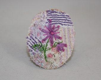 Embroidered Embellished Brooch - Purple Fantasy Flower