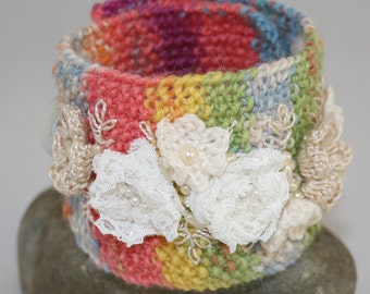Embroidered and Knitted Cuff - Ivory and Pearl Garland on Rainbow