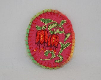 Embroidered Brooch Fantasy Bell Flowers on felt - inspired by William Morris